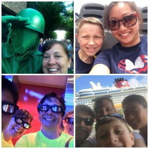 A collage of selfies taken on multiple trips to Walt Disney World.